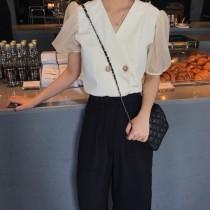 韓國東大門韓國首爾熱賣款~♛INS~韓系V領甜美雙排釦小香風雪紡紗燈籠短袖上衣