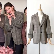 韓國東大門韓國裴秀智明星同款韓版英倫氣質學院格紋復古袖口流蘇邊西裝外套