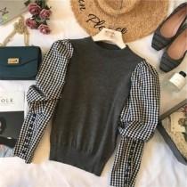 韓國東大門韓系LADY法式浪漫質感專櫃區韓系宮廷風泡泡袖縮口排扣彈性針織假兩件上衣 2色
