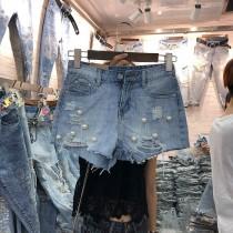 韓國東大門韓系氣質抓破手工釘珠牛仔短褲