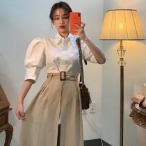 韓國東大門氣質個性設計感長版腰帶開岔半身裙~超韓風 S~M 2色
