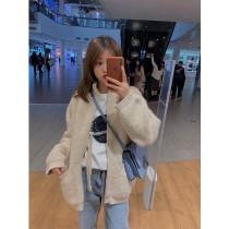 韓國東大門*網路人氣**時尚加厚針織質感寬鬆造型保暖外套 2色