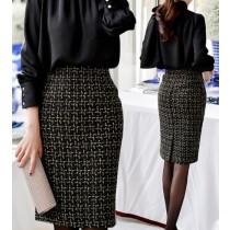 韓國東大門金秘書為何那樣OL系列一步裙包臀毛呢小香風質感高腰中長版格紋半身裙