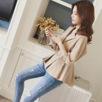 韓國東大門經典質感收腰短版燈籠袖風衣外套造型上衣 S~2XL 2色