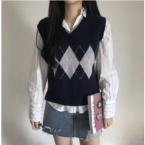 韓國東大門韓系V領菱格紋針織氣質學院風背心 不含襯衫 3色