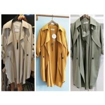 韓國東大門氣質雙肩荷葉輕薄中長版風衣防曬外套 2色