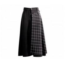 韓國東大門韓系氣質後口袋個性半邊格紋休閒款半身裙2穿式(半格紋布面可拆) S~XL