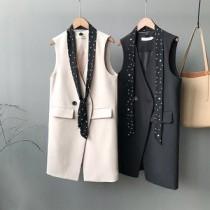 韓國東大門雙口袋設計氣質修身顯瘦背心 M~L 2色 (附點點領巾)