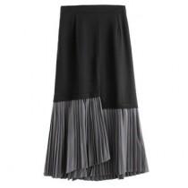 韓國東大門韓系OL氣質款黑灰百摺超質感下百摺雪紡不規則半身裙 S~XL