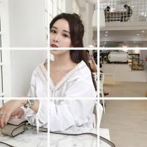 韓國東大門百搭白色V領甜美衫 S~XL