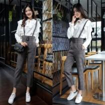 韓國東大門韓系個型帥氣格紋口袋造型休閒氣質甜美吊帶褲S~XL (不含內搭)