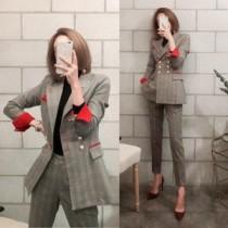 韓國東大門韓版OL質感格紋長袖修身西裝外套及質感西裝褲套裝 2件套組 S~2XL