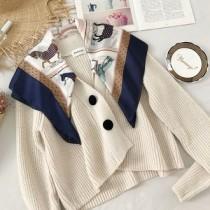 韓國東大門韓系LADY法式浪漫質感專櫃區韓系休閒氣質拼接復古絲巾針織短版外套罩衫