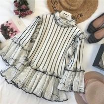 韓國東大門韓系LADY法式浪漫質感專櫃區立領小香風氣質針織彈性布料條紋浪漫立體蕾絲荷葉邊上衣 2色