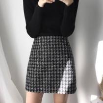 韓國東大門韓劇金秘書為何那樣 OL系列毛呢小香風質感格紋A字裙
