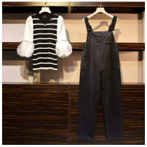 一個女孩的衣櫥 *尺碼加大* 韓國東大門條紋蓬蓬袖蕾絲燈籠袖設計搭配黑色顯瘦牛仔吊帶褲 2件組 Xl-5XL 50-~100KG 皆可穿~