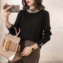 韓國東大門韓版設計簡約素色珍珠領氣質寬鬆多尺碼針織衫 2色