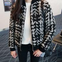 韓國東大門韓版小香風棒球毛呢立體編織鋪棉外套