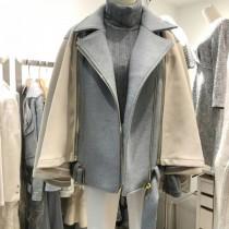 韓國東大門韓系披肩斗篷女神羊毛料2穿式毛料外套 2色
