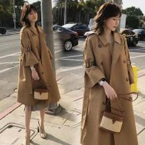 韓國東大門經典雙排扣立領喇叭袖超質感長版風衣外套 2色