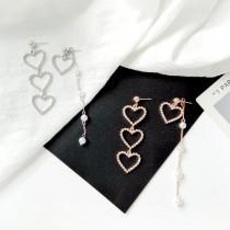 韓國南大門商圈NO.1 水鑽愛心氣質長鏈耳環&耳夾 2色