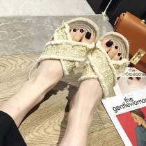 韓國東大門夏日網紅海灘渡假風藤草交叉編織流蘇邊拖鞋35~39碼 2色