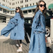 韓國東大門秋季新款上市韓版經典牛仔BF over size過膝長版風衣外套