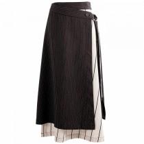 韓國東大門韓系氣質內搭配條紋布料拼接造型綁帶半身裙 S~L