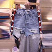 韓國東大門韓系氣質線條搭配釘珠設計抓破口袋牛仔短褲