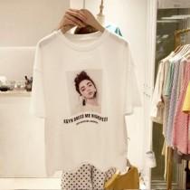 韓國東大門韓系女孩立體耳環寬鬆白色T恤