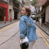 韓國東大門韓系氣質男友風LOVE釘珠寬鬆牛仔外套