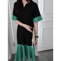 韓國東大門韓國首爾熱賣款~♛INS~韓系無荷葉魚尾寬鬆遮肉口袋連衣裙~✿不悶熱☁~超甜美~黑色超修身 S-XL