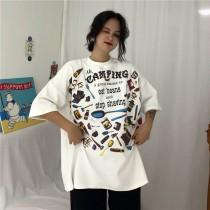韓國東大門韓系元氣少女趣味個性印刷厚版加厚T恤 3色