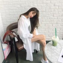韓國東大門氣質甜美雪紡薄款透視防曬長袖遮陽罩衫襯衫外套~2色~狂銷千件~**再不買就曬黑了**