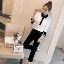 韓國東大門雪紡圓領珍珠OL氣質款2件式套裝(8分袖~9分褲) 2色 M~4XL