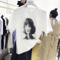 韓國東大門韓國氣質歐美麻豆印刷網紗造型T恤