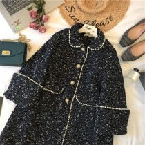 韓系LADY法式浪漫質感專櫃區韓系厚磅小香風粗花毛呢手工珍珠滾邊內鋪棉中長版大衣外套