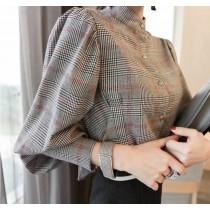 韓國東大門~秋冬~首爾熱賣款♥氣質OL時尚燈籠袖格紋襯衫~☁ 上班~洽公必備 ◙ ◚ ◛ S-XL