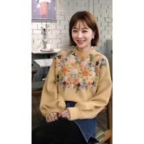韓國東大門甜美小清新甜美小花朵刺袖燈籠袖造型仙氣毛衣  現貨1+預購