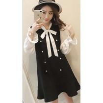 韓系氣質優雅學院風假兩件式蝴蝶結魚尾洋裝