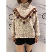 韓系甜蜜氣質V領毛球高領針織上衣