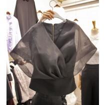 韓國東大門純色V領網紗氣質lady上衣