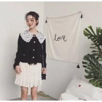 韓版黑白撞色娃娃領蕾絲上衣