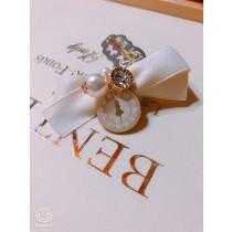 100%日本大阪 ALICE 夢幻手做白色蝴蝶結珠鑽氣質~愛麗絲髮夾