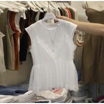 韓國東大門首爾熱賣款@@雪白氣質假兩件細肩帶蕾絲短袖上衣 S-XL