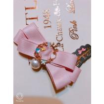 100%日本大阪 alice 夢幻手做粉色蝴蝶結珍珠甜美~愛麗絲髮夾