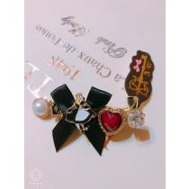 100%大阪 alice 夢幻黑色蝴蝶結色系兔兔鑽石~愛麗絲髮夾
