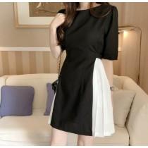 韓國東大門~設計首爾熱賣款✿夏季法式收腰後綁帶黑白拼接氣質款短洋裝✿☁ 約會~旅遊~上班~必備 ◙ ◚ ◛2色可選 S-XL