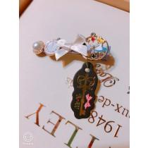 100%日本大阪 alice 夢幻手做白色蝴蝶結珍珠時鐘甜美~愛麗絲髮夾
