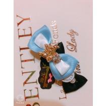 100%日本大阪 alice 夢幻 藍白色系鑰匙珍珠鑽石~愛麗絲髮夾